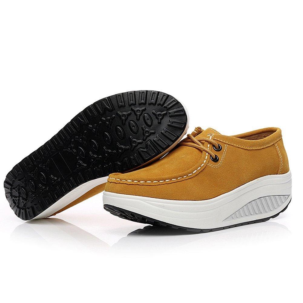 Shenn Mujer Plataforma Calzo Aptitud Para Caminar Ante Cuero Entrenadores Zapatos 1061: Amazon.es: Zapatos y complementos