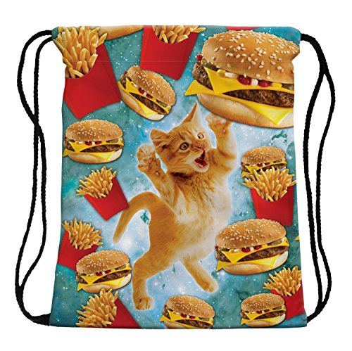 3D Print Sackpack Drawstring Bags Sack Light-Weight Nylon Backpack Outdoor Sports Resistance Water Travel Shoulder Bags Gym Bag Yoga Runner Daypack Team Training Gym Sack (Cat and Hamburger)]()