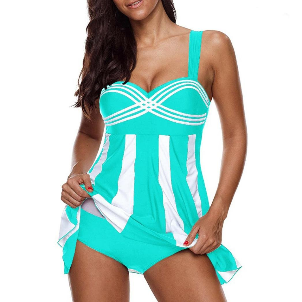 Clearance Sale Women's Tankini Sets Plus Size,Swimdress and Boy Shorts Swimwear Swimsuit (Stripe Sky Blue, 4XL) by Aurorax-Swimwear (Image #1)