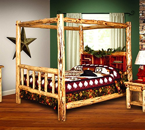 - Rustic Red Cedar Log Bed- KING SIZE - Canopy Bed - Amish Made in USA