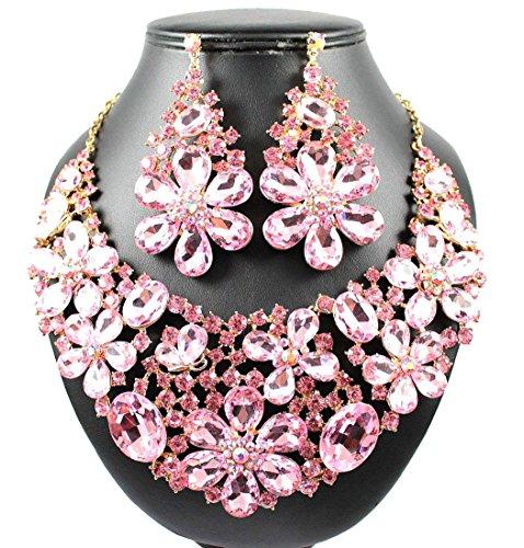isy Austrian Rhinestone Crystal BIB Necklace Earrings Set Prom N989GOLD ()