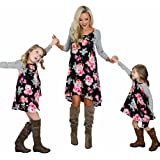 Mommy and Me Clothes Floral Print Crew Neck Long Sleeve Blouse Family Matching Maxi Midi Dress