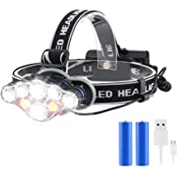 Rechargeable Headlamp, 8 Modes Multi-Function Headlight Flashlight 18000 Lumens, Waterproof Head Torch Heads Light with…