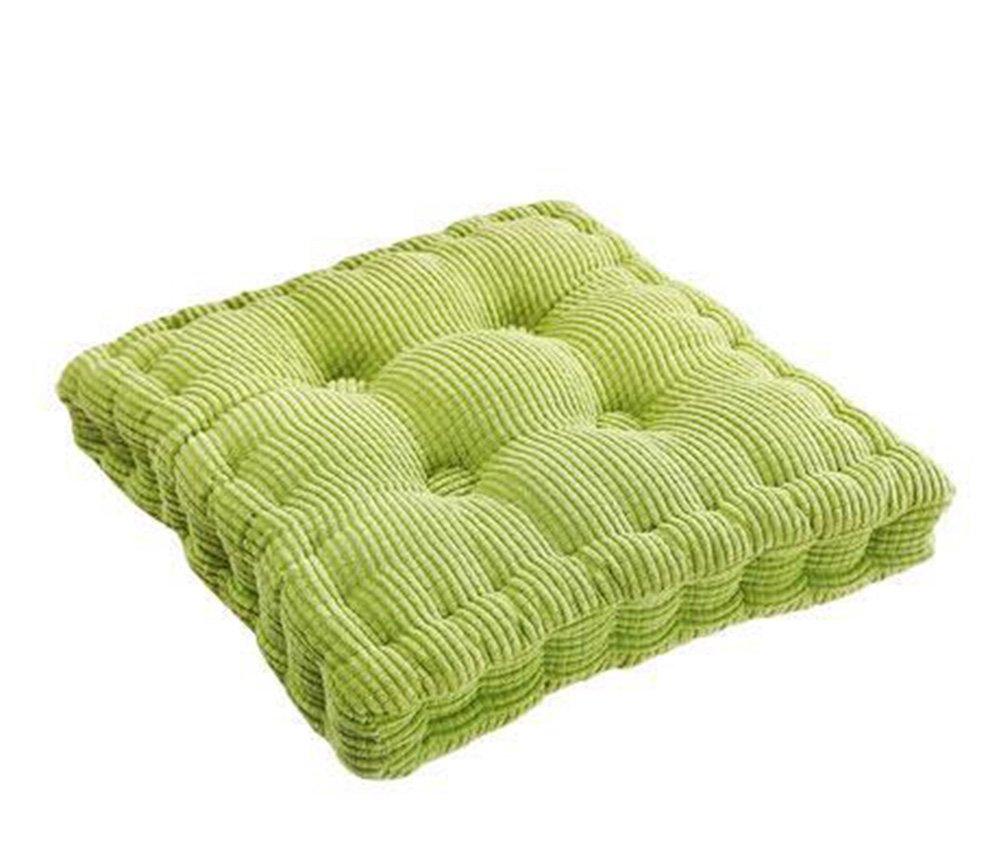 TMJJ Solid Color Warm Corduroy Children's Square Chair Pad Seating Pillows Japanese Style Tatami Pillows,15.7 by 15.7 inches,Grass Green