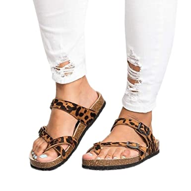 1f7b98583e65 Amazon.com: Women's Retro Leopard Print Flats Sandals,Adjustable Buckle  Strap Beach Shoes Thick-Soled Cork Slippers Size 5-9: Clothing