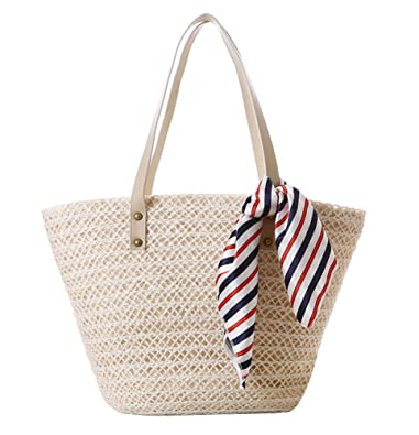 Tonwhar® Pastoral Style Wheat Straw and Hemp Woven Bag Large Beach ...