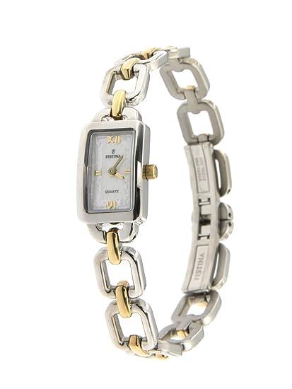 Reloj mujer Festina solo tiempo de acero con correa de acero bicolor fondo blanco LOGATO