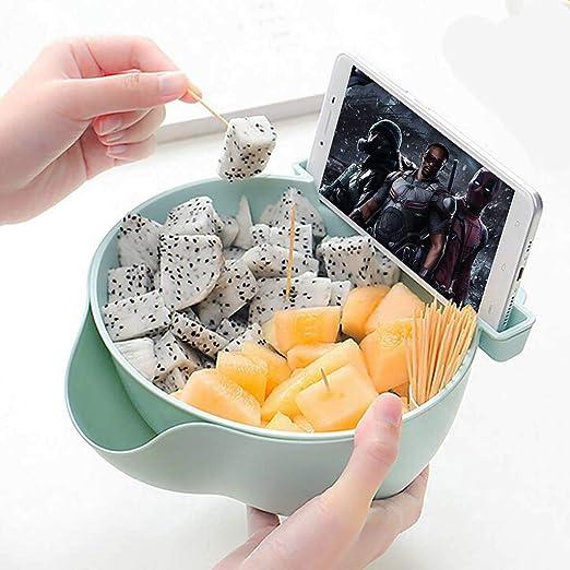 Perfect For Snacks Fruit or Pistachio//Sunflower Seeds Storage Box #Blue Multi-function Stylish Snacks Storage Box Double Layer Container Household Plate Dish Organizer Bonus Phone Slot