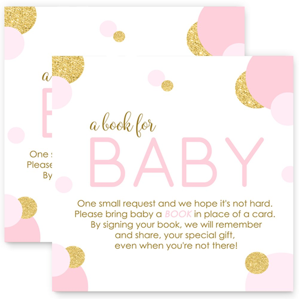 Pink and Gold Bring a Book for Baby Girls - Invitation Insert Cards 25 pc.