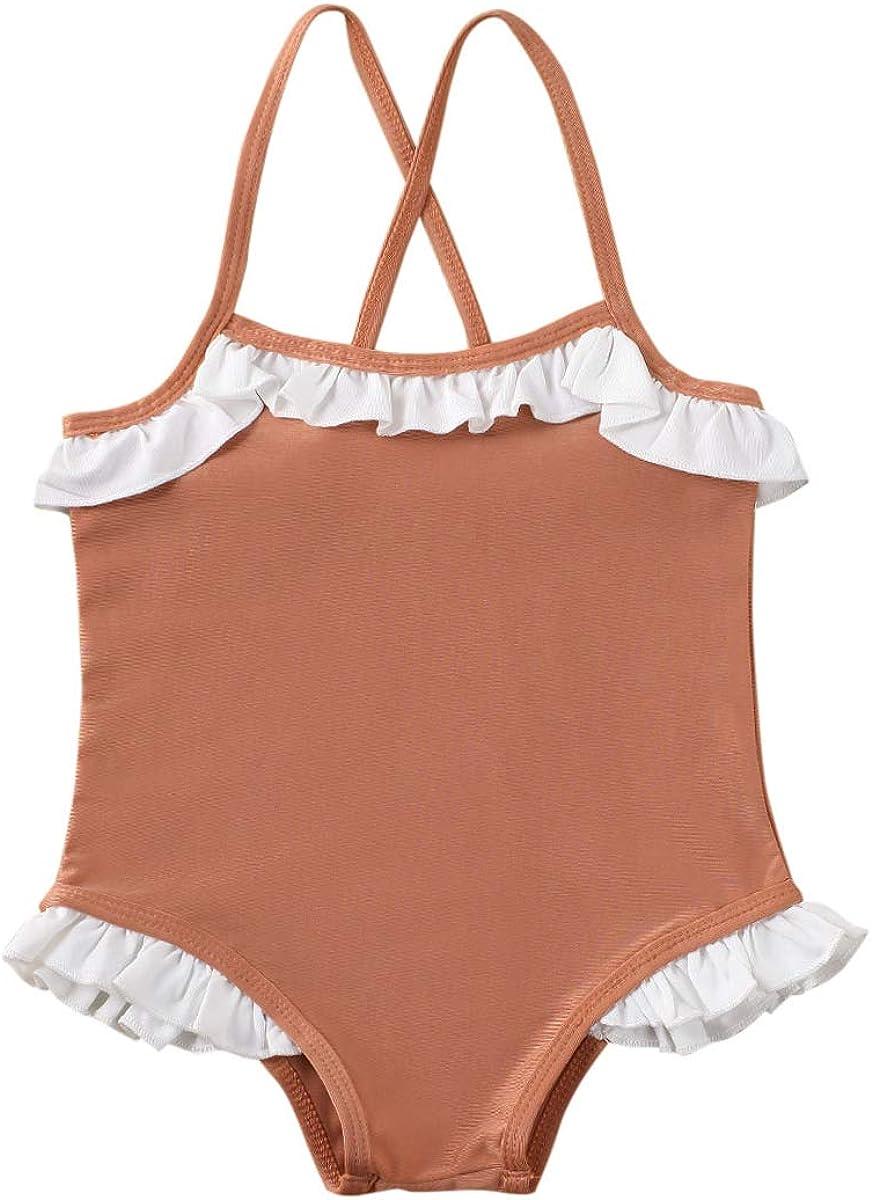 Toddler Baby Girls Swimsuit Off Shoulder Hawaiian Halter Two Piece Bikini Bathing Suit Swimwear Beachwear