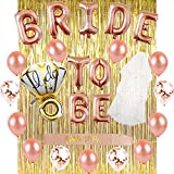 Bride To Be Bachelorette Party Supplies - Rose Gold BRIDE TO BE Banner with Sash, Veil, Diamond Confetti Balloons, Perfect for Bridal Shower Wedding Engagement Party decorations SG031