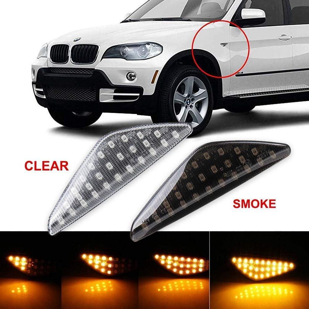 Febelle 2 Luci Laterali Indicatori Direzione BMW Sequenziali Laterali,Luci Lampeggianti per BMW X5 E70 X6 E71 E72 X3 F25 Colore Ambra Nero