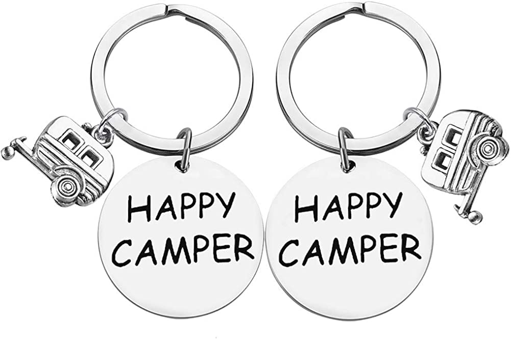 Happy Camper RV Keychain Trailer Jewelry Camping Keychain Key Ring Gift for Camper Lover Vacation Jewelry Christmas Gift(2 Pack)