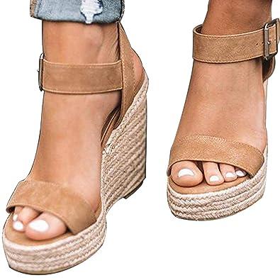 1f3295cef XMWEALTHY Women's Wedge Sandals Casual Sandals Shoes Summer Ankle Buckle  Open Toe Platform Wedges Heels US