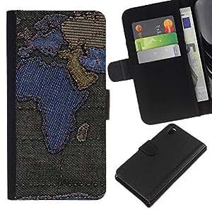 Leather Etui en cuir    Sony Xperia Z3 D6603    África Continentes Mapa Europa Península Arábiga @XPTECH