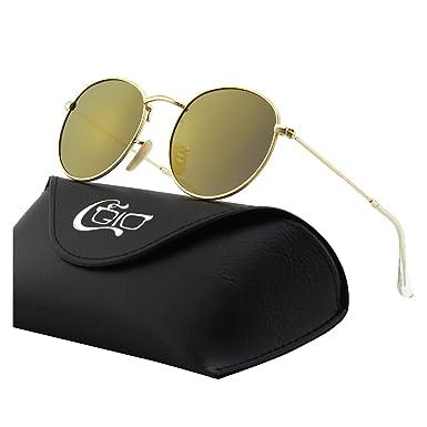 CGID E47 Petites lunettes de soleil polarisées inspirées du style retro vintage Lennon en cercle métallique rond kaoXQ0zB