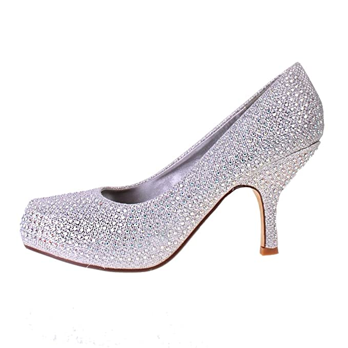 444419ab2b Image Unavailable. Image not available for. Colour: Ladies TRUFFLE Silver  Diamante Sparkle Kitten Heel Evening Bridal Court Shoes 4