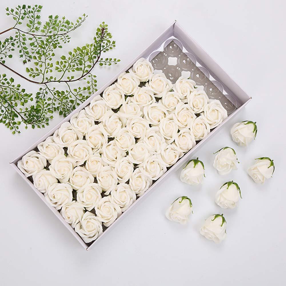 Leoie 50 Pcs//box Simulation Rose Handmade Soap Petal Bath Body Soap Home Wedding Decoration champagne