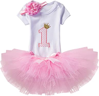 Baby Girl Pink My First 1st Birthday Tutu Outfit 1 Cake Smash One Stylish UK