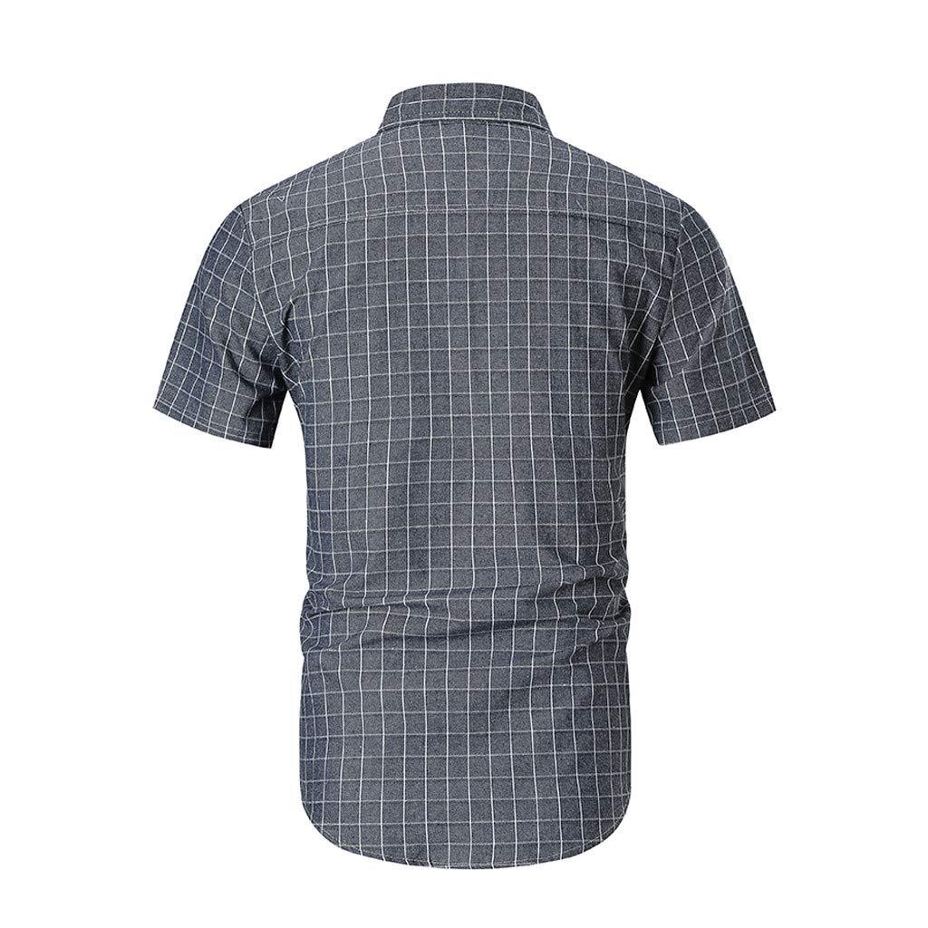 POQOQ Mens Splicing Lattice Gradient Casual Fashion Lapel Short Sleeve Shirt