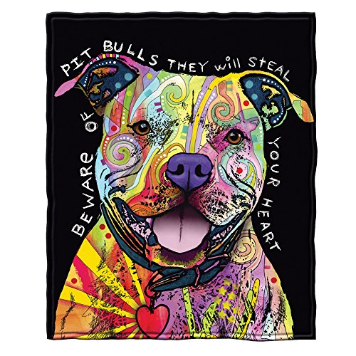 (Dawhud Direct Dean Russo Beware of Pit Bulls They Will Steal Your Heart Fleece Throw Blanket)