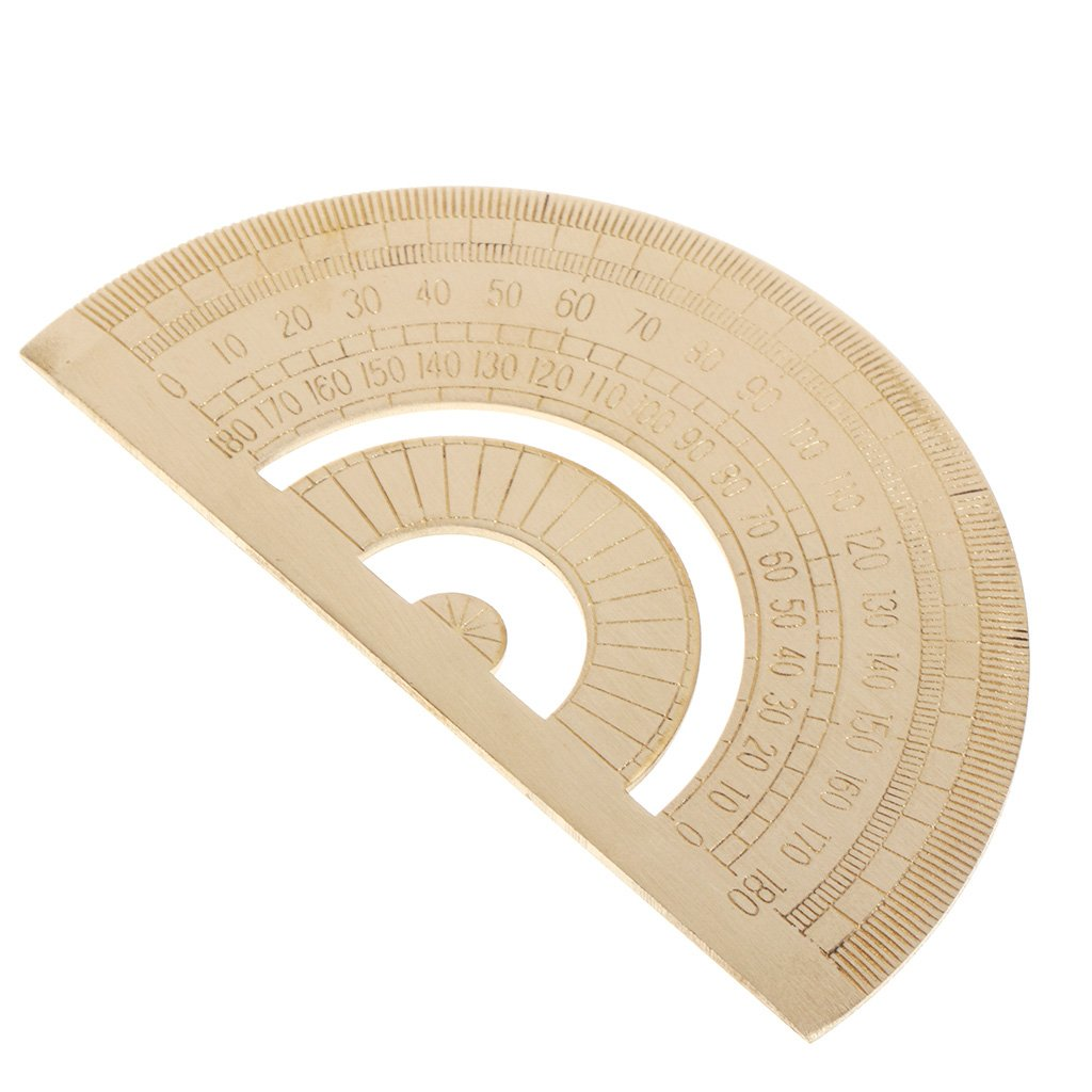 FangWWW herramienta de medici/ón de /ángulo Regla transportadora de lat/ón regla transparente para carpintero