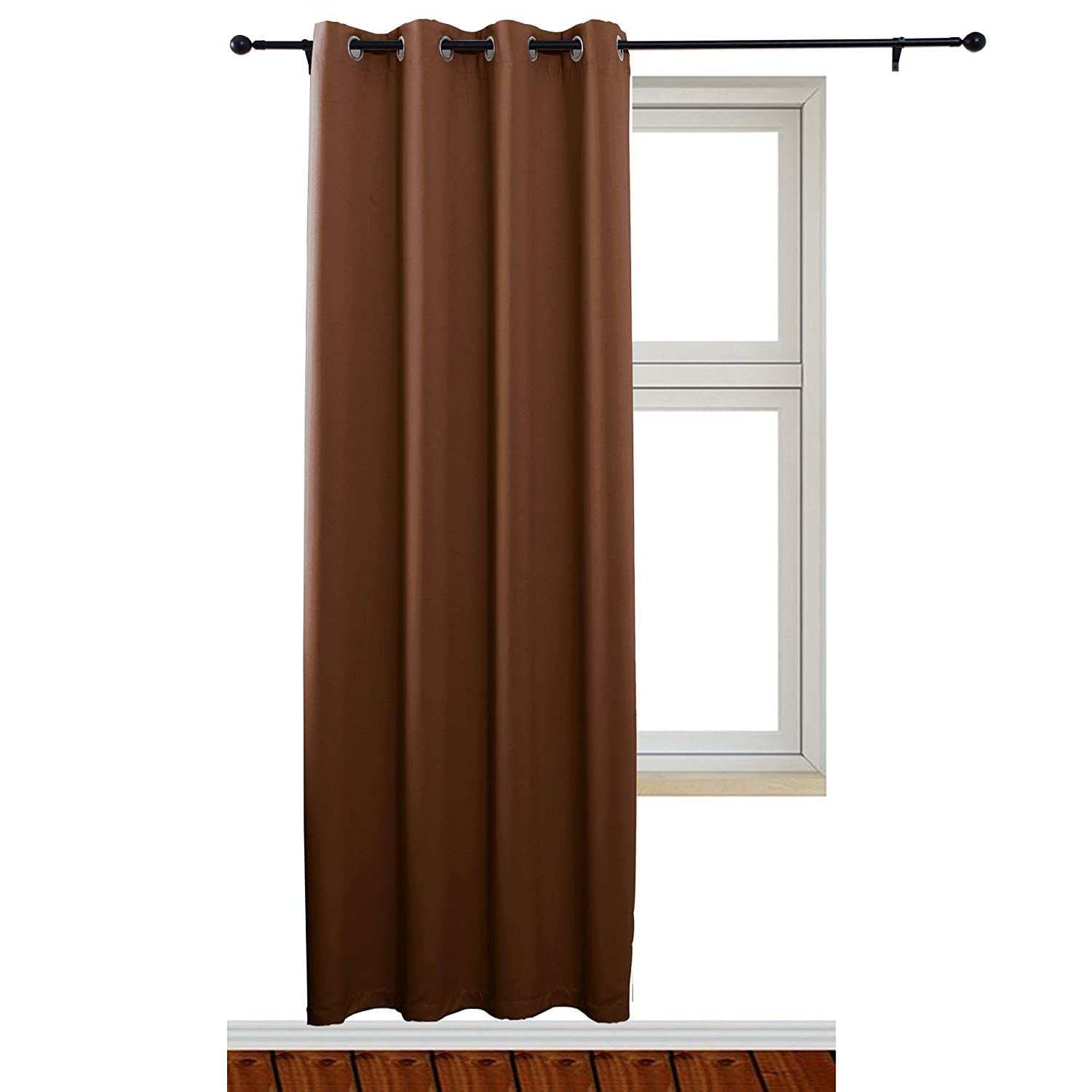 Sinogem Room Darkening Window Curtain Panel Blackout Curtains Bedroom Kitchen, 1 Panel (52x63 inches, Beige) SG99080-99109