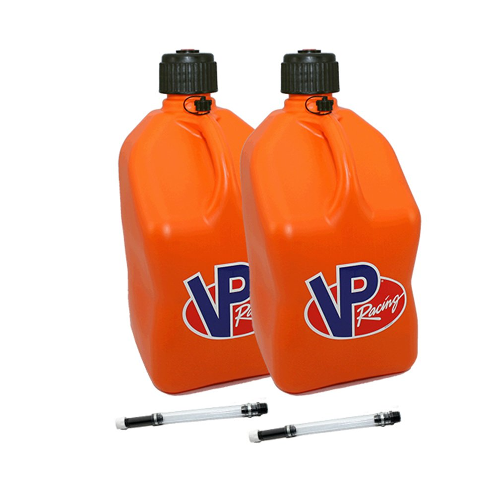 2 Pack VP 5 Gallon Square Orange Racing Utility Jugs with 2 Deluxe Filler Hoses by VP Racing