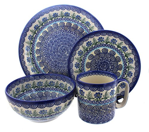Blue Rose Polish Pottery Charleston 4 Piece Dinner Set