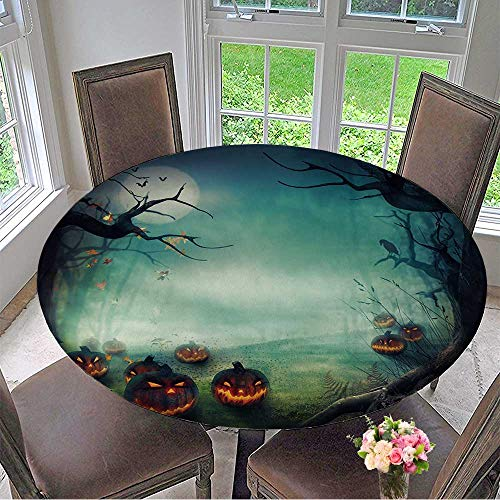 Mikihome Modern Simple Round Tablecloth Halloween Design Forest Pumpkins Horror Background with Autumn Valley with Woods Decoration Washable 67