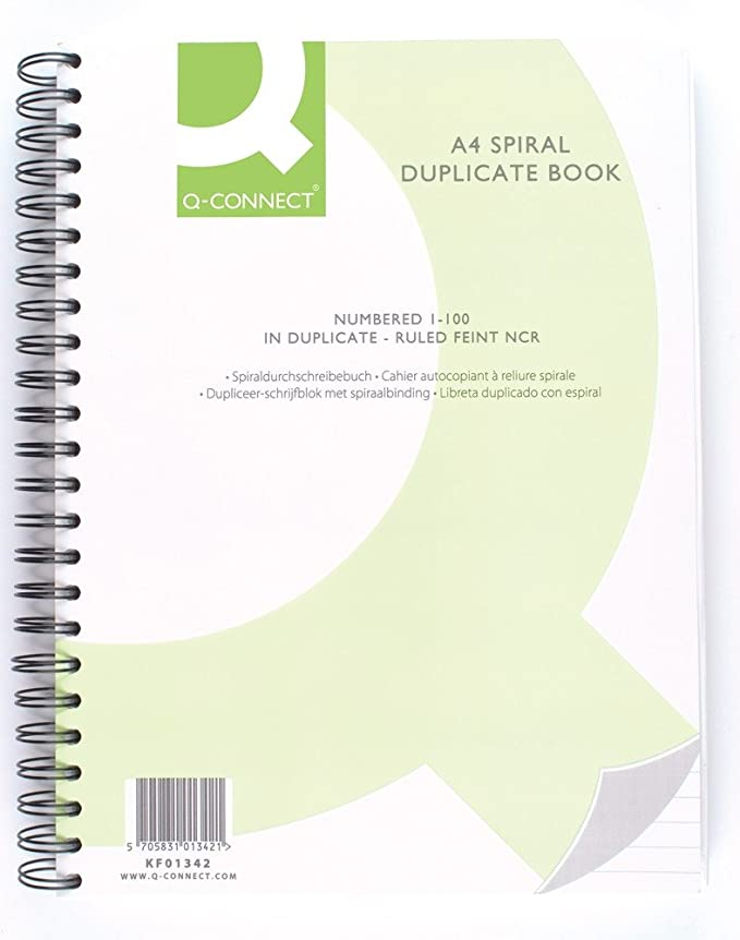 Q-Connect Wiro Bound Carbonless Duplicate Book A4