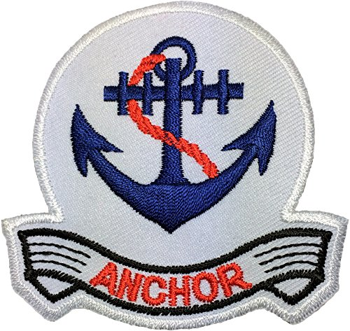 (Anchor Marine Nautical Sailor Naval Rope DIY Sew Iron on Logo Emblem Embroidered Applique Badge Sign Costume Patch - White)