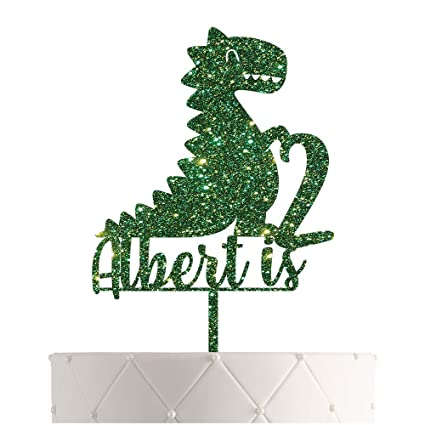 Glitter Cake Topper Dinosaur Name Cake Topper Boy Birthday Party Blue and Gold Personalized Cake Topper,