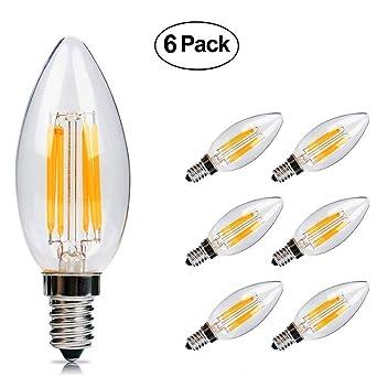 Bombillas Edison LED E14 6w Bombilla Filamento LED 600 Lumen, Equivalente 60W, Blanco Cálido