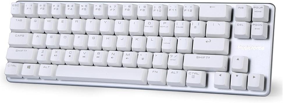 Qisan Teclado mecánico teclado para juegos con interruptor marrón 68 teclas Mini diseño (60%) teclado con cable para juegos blanco plateado Magicforce ...