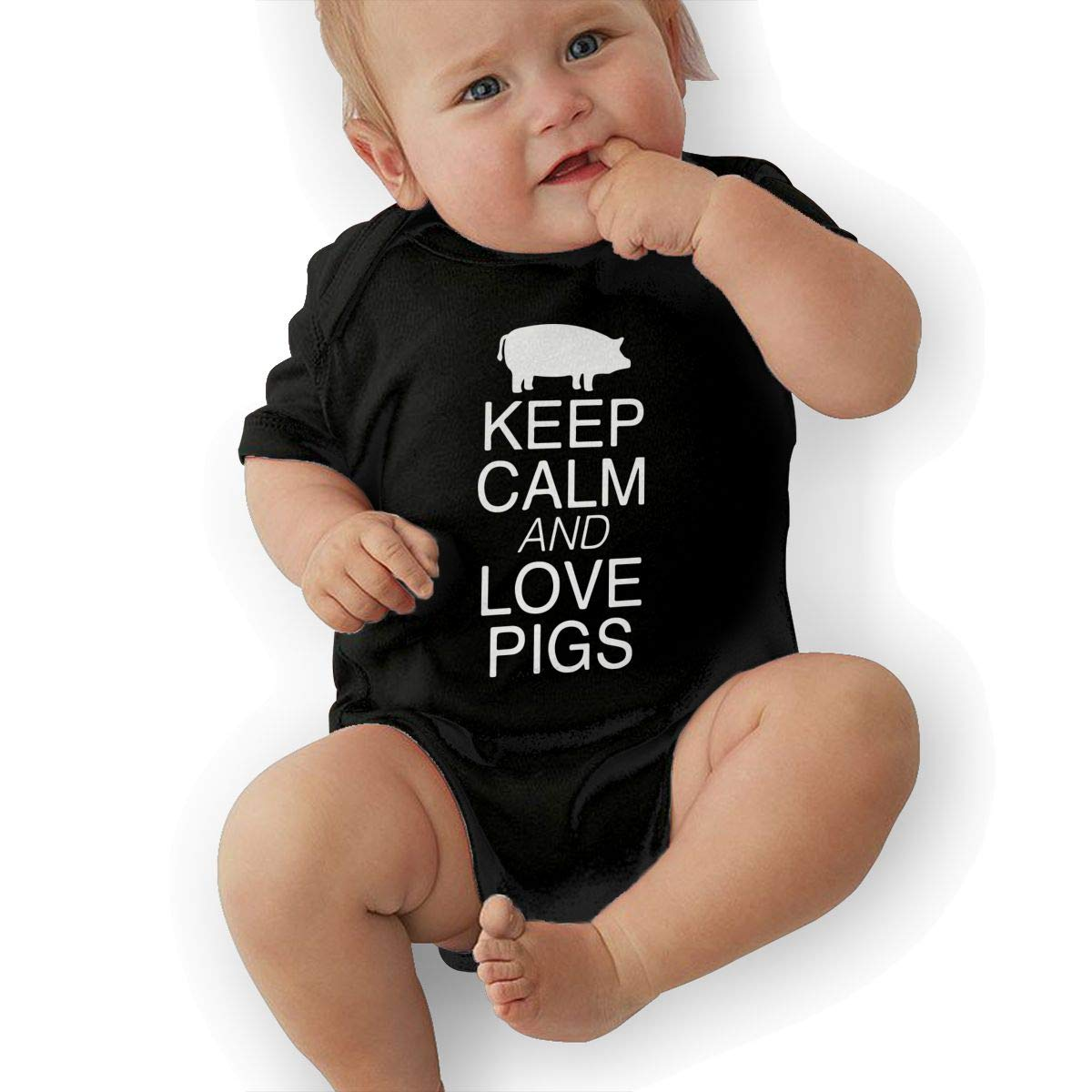 Keep Calm and Love Pigs Printed Unisex Baby Short Sleeve Bodysuits Coverall Jumpsuit