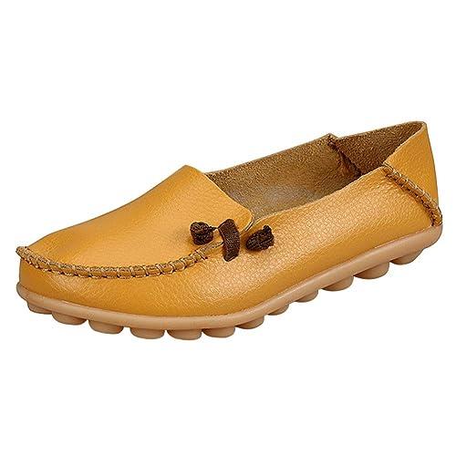 55b077a7 Yudesun Mujer Zapatos Mocasines Pisos - Cómodo Cuero Cordones Damas Chicas  Trabajo Tobillo Embarazada Conductor Bombas Zapatos: Amazon.es: Zapatos y  ...
