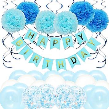 Bigmeda Decoraciones de la Fiesta, Pancarta de Feliz cumpleaños con Globos de látex, Flor de Papel, Azul Remolino Colgante.
