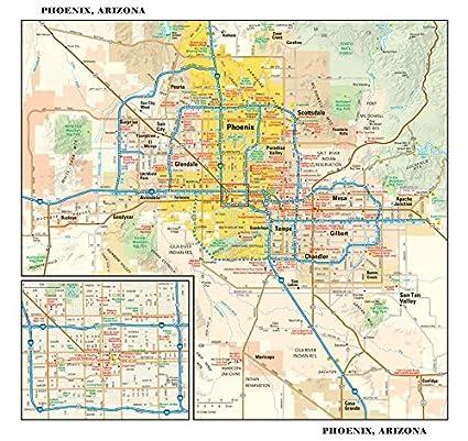 Amazon.com : Phoenix, Arizona Wall Map - 11.5\