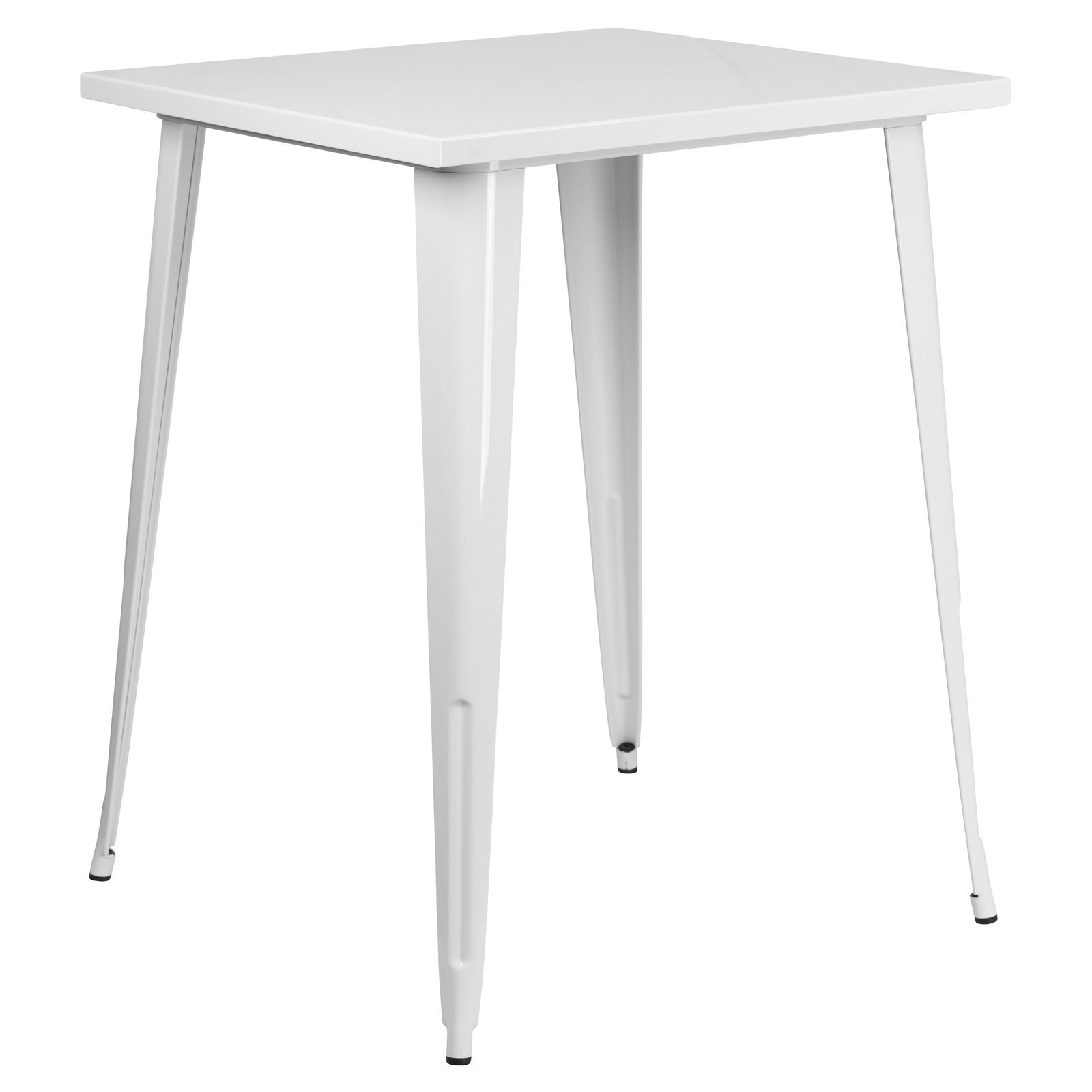 Basic 31.5'' Square Metal Indoor/Outdoor Bar Height Table with Protective Rubber Feet to Prevent Floor Damage, Thick Brace Underneath for Added Stability, White + Expert Home Guide by Love US