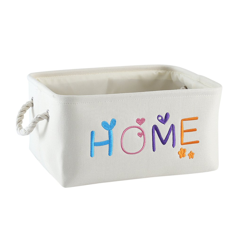 TheWarmHome Baby Basket Organizer Canvas Storage Basket Bin for Kids Toys Storage Decorative Lined Basket, Beige Handmade Embroidery (13.8×9.8×6.7inch)