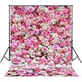 5x7ft Photography backdrops background Valentines Day Spring Rose Wall Photo Backdrop Colorful Flowers newborn kids baby shower wedding studio