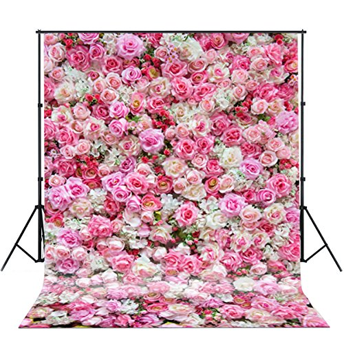 5x7ft Photography backdrops background Valentine's Day Spring Rose Wall Photo Backdrop Colorful Flowers newborn kids baby shower wedding studio (Valentine Wall)