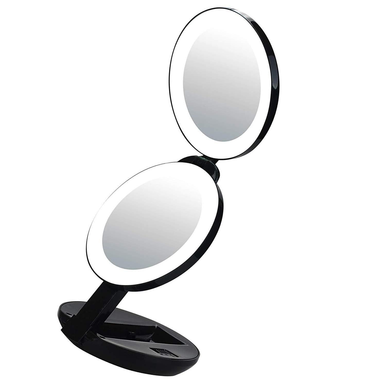 Espejo de maquillaje con luz LED Xelparuc, aumento de 10 x y 1 x, doble cara de lujo y bolsillo plegable con espejo osmético (negro)