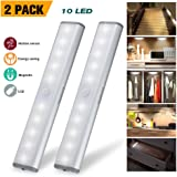 Wireless Motion Sensor Cabinet Lights 10-LED USB Rechargeable Closet Lights LED Under Cabinet Lighting for Wardrobe/Drawer/Stairs/Cupboard/Counter/Pantry/Stairs,Stick On Anywhere,2 Pack,White Light