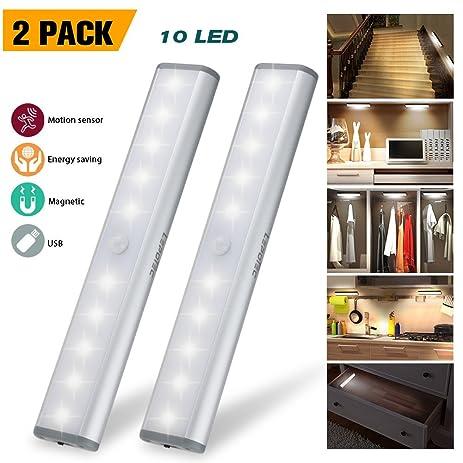 Wireless Motion Sensor Cabinet Lights 10 LED USB Rechargeable Closet Lights  LED Under Cabinet Lighting
