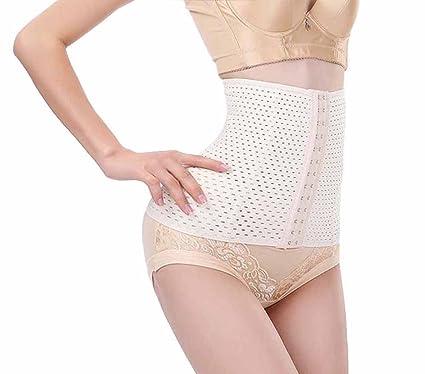 2a17bd327cb Chumian Women s Breathable Waist Cincher Girdle Belly Trainer Corset Body-Hugging  Shapewear (Black Beige)