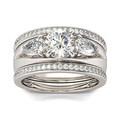 Amazon Com Pophylis Three Stone Engagement Rings Set Gold Fill