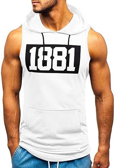 FossenHom Camisetas de Tirantes Hombre Deportivas con Capucha Bodybuilding de Secado Apretado Camiseta Deporte Hombre Bolsillos para Gym Fitness