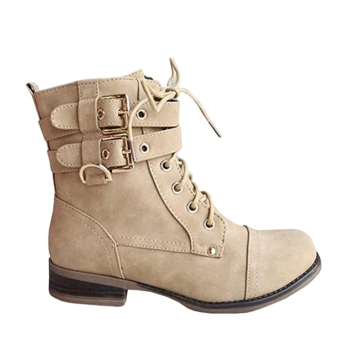 100% high quality hot-selling latest elegant shape Womens Winter Combat Boots Mid Calf Lace-up Buckle Strap Side Zipper Low  Heel Vintage Shoes